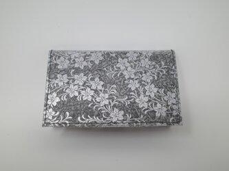 ギルディング和紙カードケース 桔梗 黒地 銀箔の画像