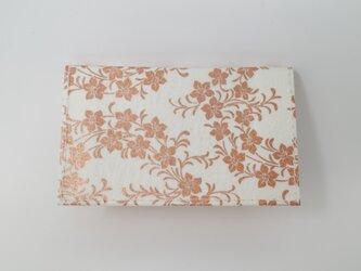 ギルディング和紙カードケース 桔梗 白地 銅箔の画像
