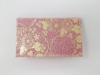 ギルディング和紙カードケース 菊 赤地 金箔の画像