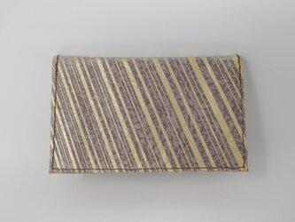 ギルディング和紙カードケース ストライプ 茶地 金箔の画像