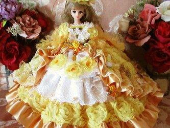 ベルサイユの薔薇 午後の舞踏会 シャーベットオレンジの高級ロココ調フリルドレスの画像