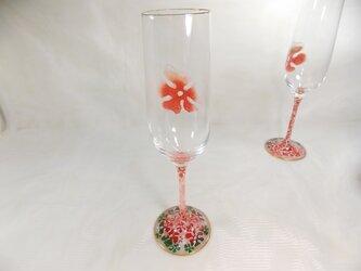 クリスマス・シャンパングラスR(お花ふわり)の画像