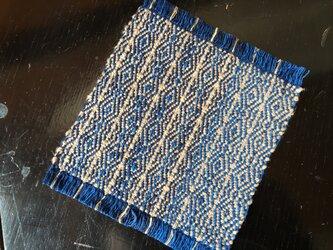 手織りの草木染めコースター ③焦茶の画像