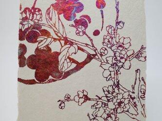 ギルディング和紙葉書 梅 赤混合箔の画像