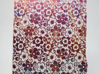 ギルディング和紙葉書 乱桜 赤混合箔の画像