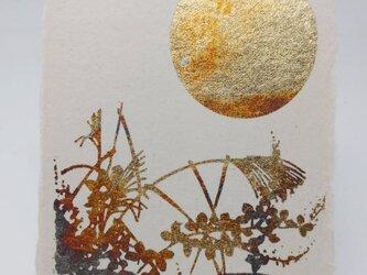 ギルディング和紙葉書 月と秋草 黄混合箔の画像