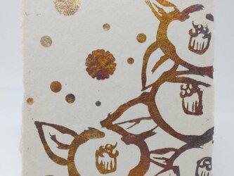 ギルディング和紙葉書 椿 黄混合箔の画像