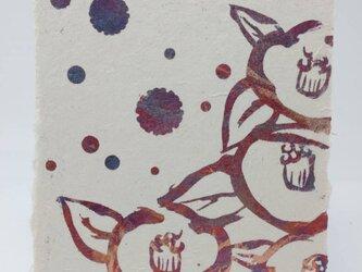 ギルディング和紙葉書 椿 赤混合箔の画像