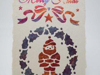 ギルディング和紙葉書 サンタクロース 赤混合箔の画像