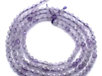 特別SALE 連40cm アメジスト 極小 2~2.5mm 紫水晶 クォーツ 2月 誕生石の画像