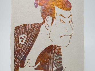 ギルディング和紙葉書 歌舞伎 黄混合箔の画像