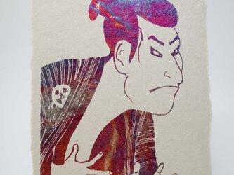 ギルディング和紙葉書 歌舞伎 赤混合箔の画像