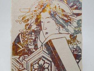 ギルディング和紙葉書 浮世絵女 黄混合箔の画像