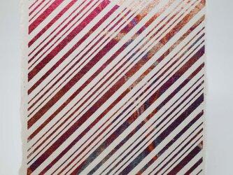 ギルディング和紙葉書 ストライプ 赤混合箔の画像