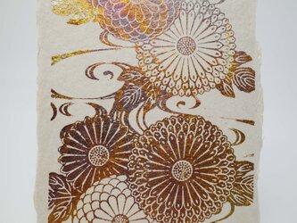 ギルディング和紙葉書 菊水 黄混合箔の画像