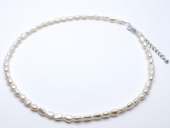 本真珠ナチュラルネックレス 淡水パール ホワイト系 ブレスレット 兼用 ショート ロングの画像