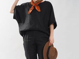 【wafu入門編】薄地 リネンブラウス ビックTシャツ ゆったり Tシャツ ビッグT/ブラック t016i-bck1の画像