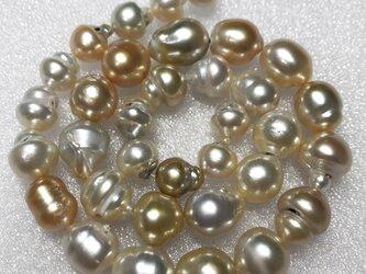 連42cm 白蝶ゴールデン真珠 南洋ゴールドパール 本真珠 バロック 10~14mm前後 訳ありの画像