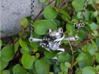 雨の日の相棒!しがみつきカエル。ネックレスの画像