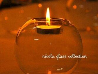 ガラスのインテリア。。ティーライトキャンドルスタンドの画像