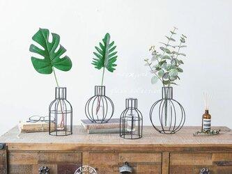 Mサイズ 北欧風 アイアン×ガラス花瓶 ガラスベース の画像