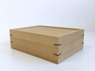 杉の小さな道具箱 裁縫箱 木箱 はがき箱 木製 無垢材 黒くさびの画像