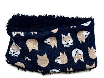 【即納可能】かぶるタイプ☆キッズサイズ☆柴犬柄(黒色)+ふわふわプードルファーのネックウォーマーの画像
