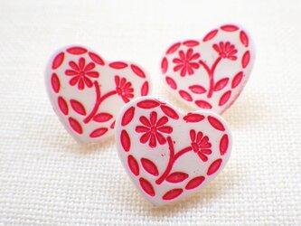 (3個) お花ハートのボタン フランス製の画像