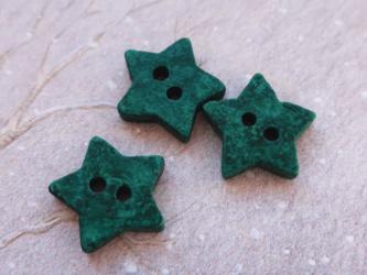 (3個) グリーンの星のボタン ドイツ製の画像