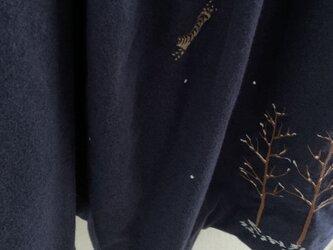 コットン起毛 ロングスカート 雪の中のキジトラたちの画像