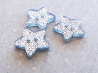 (3個) キラキラ星のボタン シルバーの画像