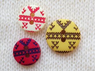 (3個) 編み目のボタン3色セット フランス製の画像