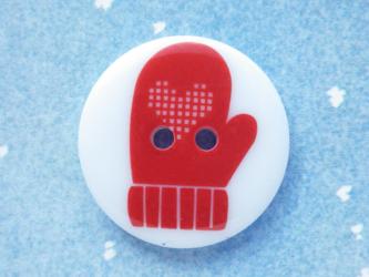 (3個) 赤いハートのミトンのボタン23mm イギリス製の画像