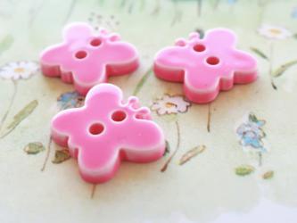(3個) ちょうちょのボタン ピンク フランス製の画像