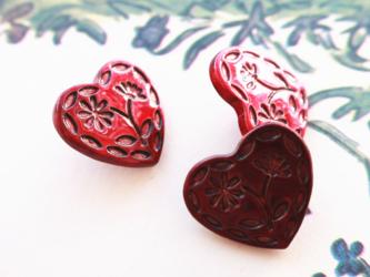 (3個)  ハートとお花のボタン 赤 プラスチック フランス製の画像