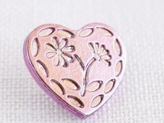 (3個)  ハートとお花のボタン ピンク プラスチック フランス製の画像