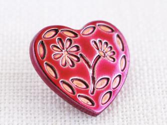 (3個)  ハートとお花のボタン フューシャピンク プラスチック フランス製の画像