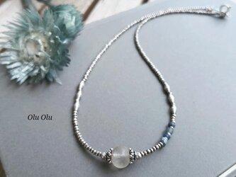古代水晶×アンティークローマングラス×カレンシルバーのネックレスの画像