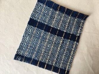 手織りの草木染めコースター2枚組 ⑧紺の画像