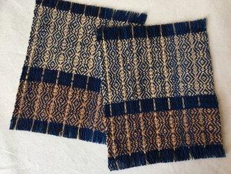 手織りの草木染めコースター2枚組 ⑨の画像