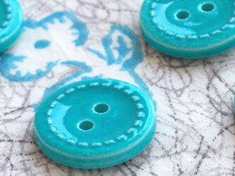 (3個) ターコイズブルーのボタン フランス製の画像