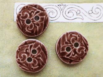 (3個) 陶器のようなボタン ダークブラウン フランス製の画像