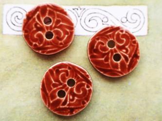 (3個) 陶器のようなボタン ブラウン フランス製の画像