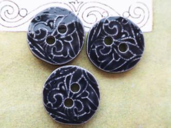 (3個) 陶器のようなボタン ネイビー フランス製の画像