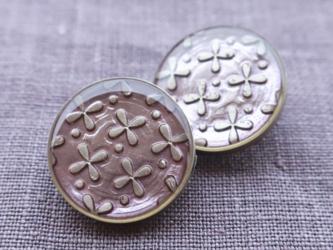 (2個) お花のボタン ラベンダー フランス製の画像
