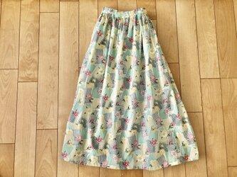 【大SALE】パッチワークデザイン小花綿ローンギャザースカート(グリーン)の画像