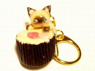 にゃんこのしっぽ○カップチョコにゃんこ○キーホルダー○猫○シャム猫2の画像