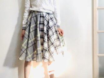 【SALE】コットン/ポリエステルウェザー  サーキュラースカート チェックの画像