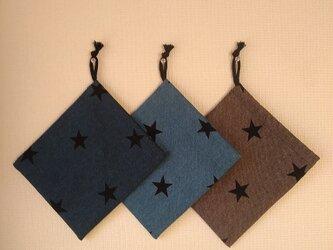 片紐コップ袋1枚 デニム調 星の画像