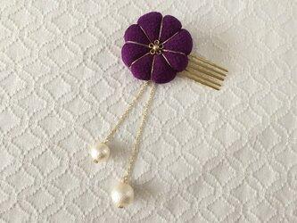 〈ちりめん細工〉菊のコーム(パール付き・紫)の画像